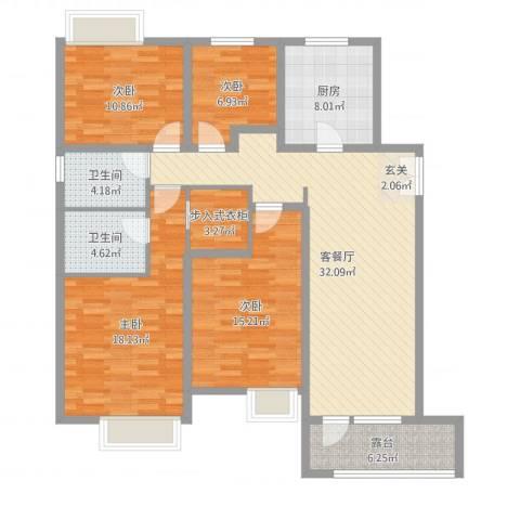 首创澜茵山4室2厅2卫1厨137.00㎡户型图