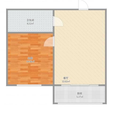 盛新园1室1厅1卫1厨66.00㎡户型图