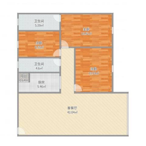 宝源楼3室2厅2卫1厨125.00㎡户型图
