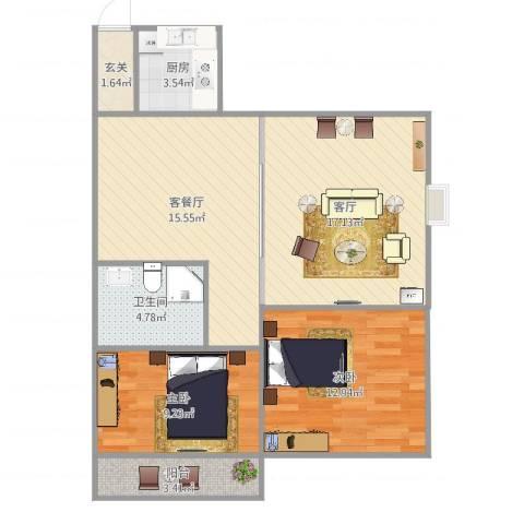 腾达新城2室3厅1卫1厨85.00㎡户型图