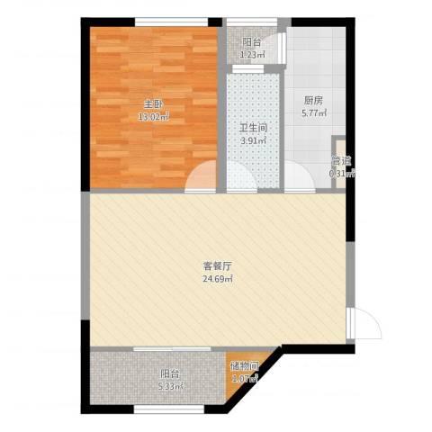 西郊三村1室2厅1卫1厨68.00㎡户型图