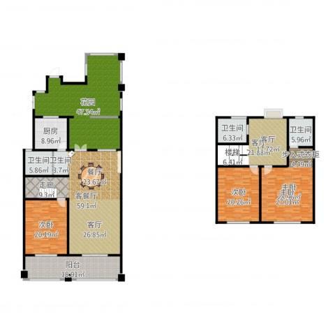 绿地・内森庄园3室3厅3卫1厨305.00㎡户型图
