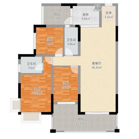 翁江新城3室2厅2卫1厨121.00㎡户型图