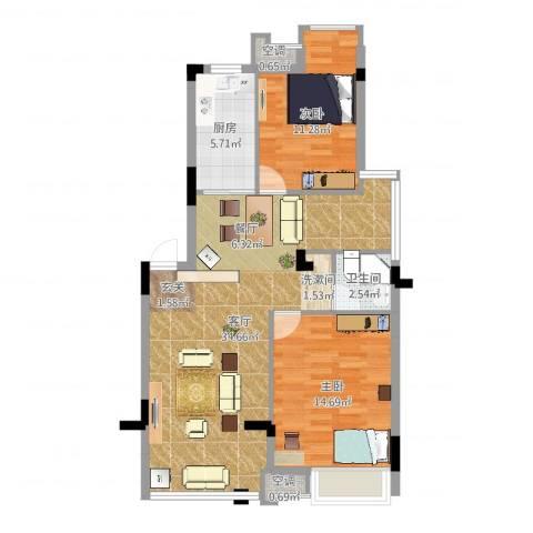 恒大晶筑城一期2室1厅1卫1厨88.00㎡户型图