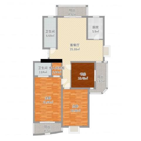 水榭华庭3室2厅2卫1厨148.00㎡户型图