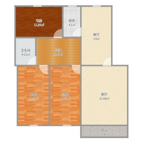 东力新村3室2厅1卫1厨131.00㎡户型图