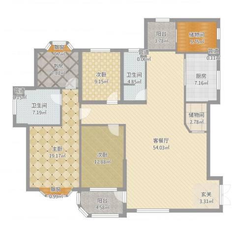 大连明珠4室2厅2卫1厨174.00㎡户型图