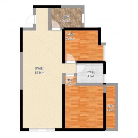 金街坊2室2厅1卫1厨104.00㎡户型图