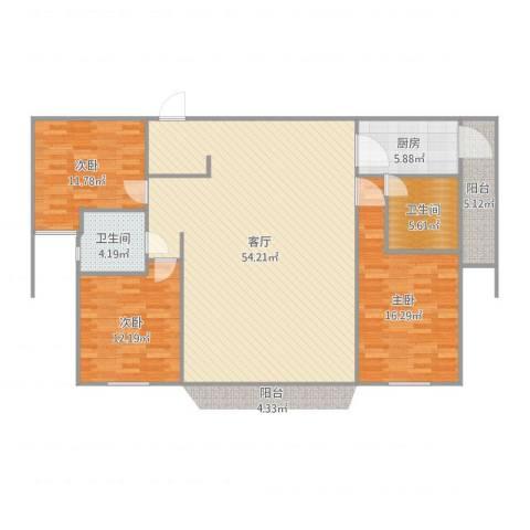 德远未来之城3室1厅2卫1厨144.00㎡户型图