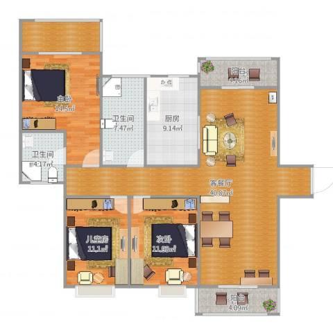 左岸春天3室2厅2卫1厨140.00㎡户型图
