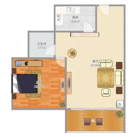 绿地观邸1室1厅1卫1厨82.00㎡户型图