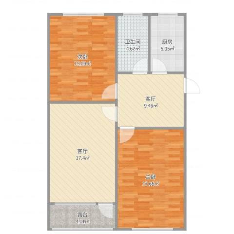 龚华新村2室2厅1卫1厨92.00㎡户型图