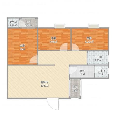 东怡花园3室2厅3卫1厨121.00㎡户型图