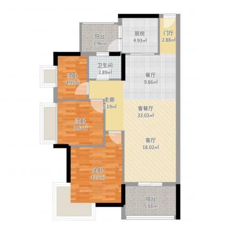 虎门国际公馆3室2厅1卫1厨95.00㎡户型图