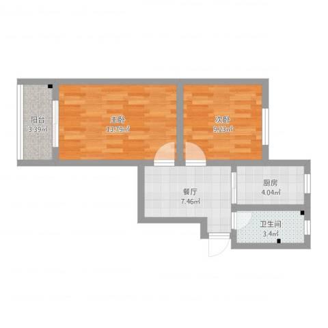 万荣小区2室1厅1卫1厨52.00㎡户型图