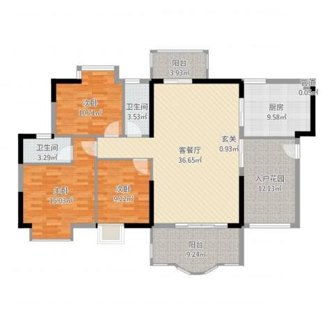 博罗新城建业・金域华府3室2厅2卫1厨142.00㎡户型图