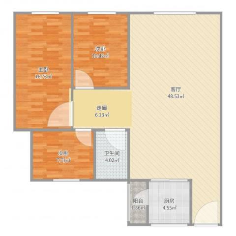 富雅轩3室1厅1卫1厨125.00㎡户型图