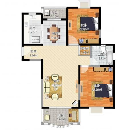 久华佳苑2室1厅1卫1厨125.00㎡户型图