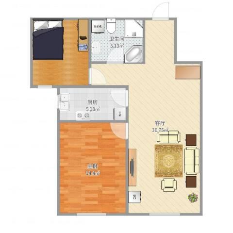 首创·悦都汇1室1厅1卫1厨82.00㎡户型图