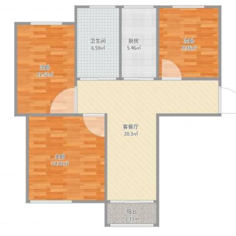 定西路1235弄小区3室2厅1卫1厨95.00㎡户型图