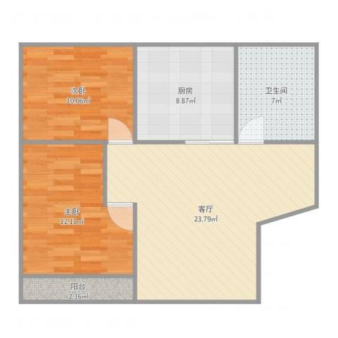 梅园四街坊2室1厅1卫1厨80.00㎡户型图