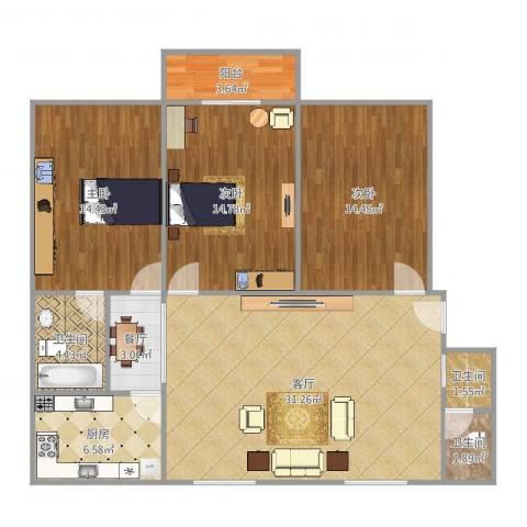 杏园小区3室2厅3卫1厨120.00㎡户型图
