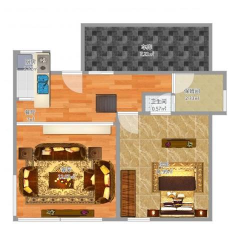万兆家园叠彩人家1室2厅1卫1厨59.00㎡户型图
