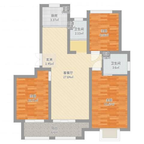 农房檀府3室2厅2卫1厨97.00㎡户型图