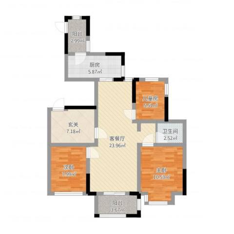 山湖湾3室2厅1卫1厨88.00㎡户型图