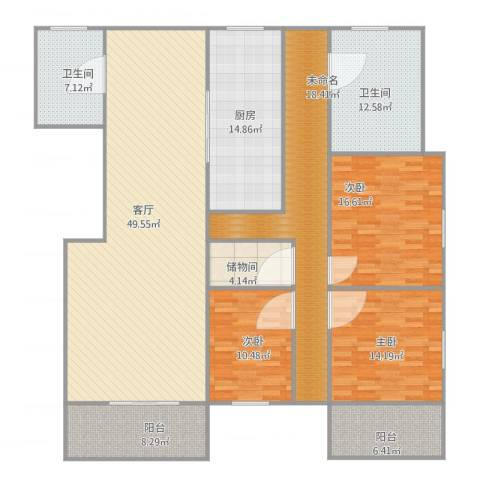 同心路116弄小区3室1厅2卫1厨218.00㎡户型图