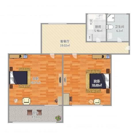 龙南四村2室2厅1卫1厨125.00㎡户型图