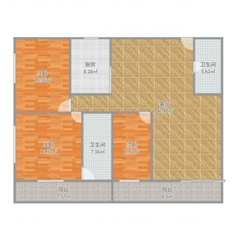 中铁财富港湾3室1厅2卫1厨157.00㎡户型图