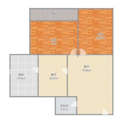 南全福小区2室2厅1卫1厨199.00㎡户型图
