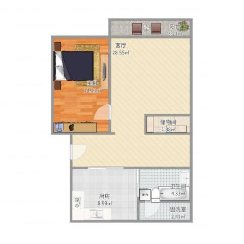 共和新路4605弄小区1室3厅1卫1厨86.00㎡户型图