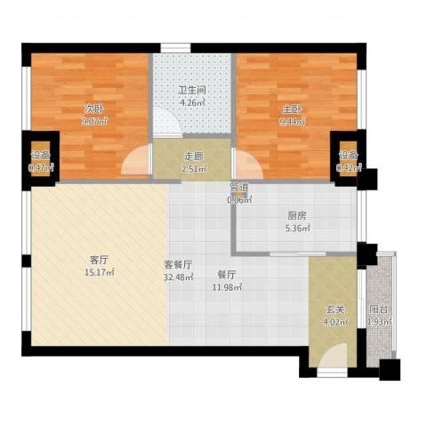 金地华公馆2室2厅1卫1厨79.00㎡户型图