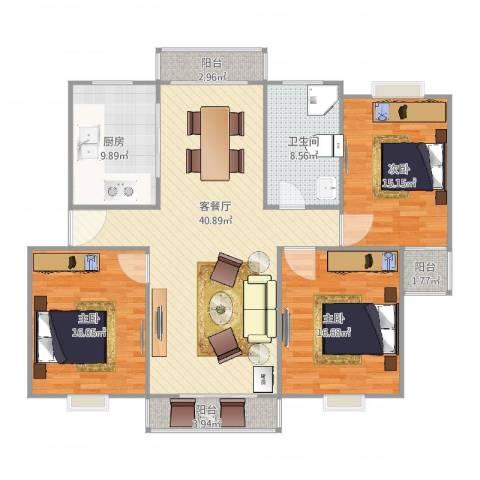 阳光星期八3室2厅1卫1厨155.00㎡户型图