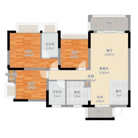美丽湾畔花园3室2厅4卫1厨107.00㎡户型图