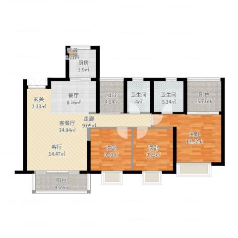 康联汇展中央3室2厅2卫1厨119.00㎡户型图