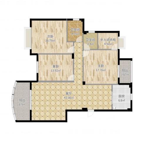 新澳蓝草坪3室1厅2卫1厨158.00㎡户型图