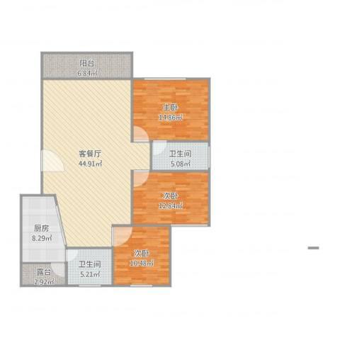 恒福湖景湾3室2厅2卫1厨149.00㎡户型图