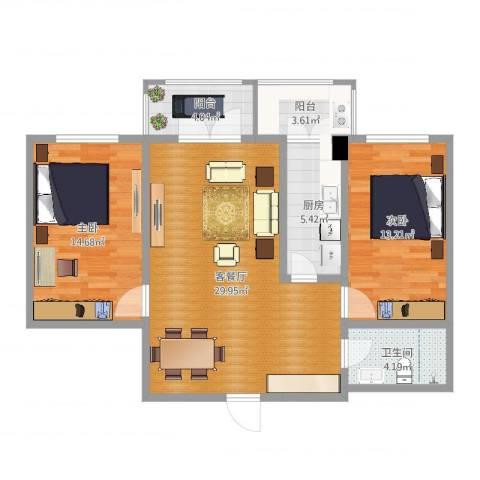 天津逸秀园1-1-6022室2厅1卫1厨94.00㎡户型图