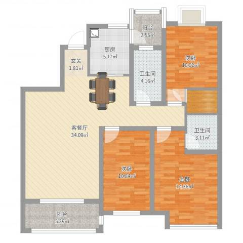 怡和四季园筑3室2厅2卫1厨115.00㎡户型图