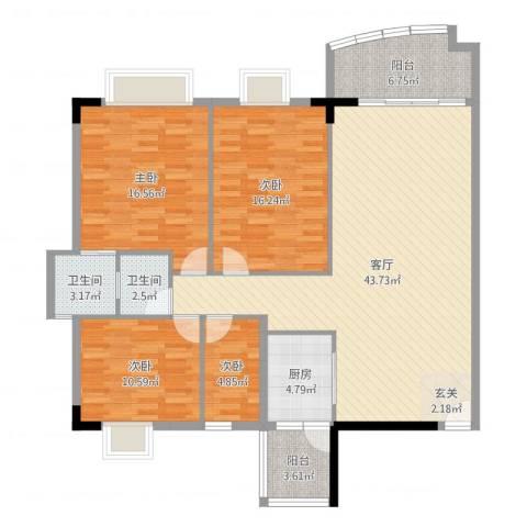骏马山庄三期4室1厅2卫1厨141.00㎡户型图