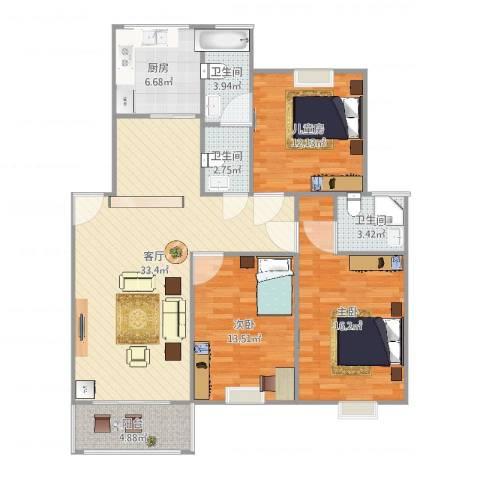 连云港幸福城3室1厅3卫1厨130.00㎡户型图