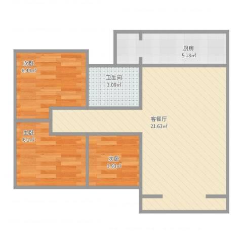 安信花园3室2厅1卫1厨64.00㎡户型图