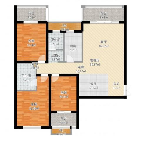 红旗雅居3室2厅2卫1厨129.00㎡户型图