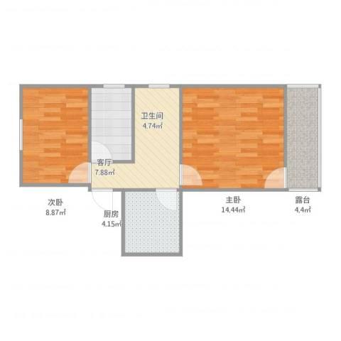 龙南五村2室1厅1卫1厨61.00㎡户型图