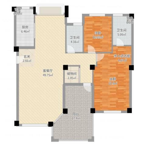 国贸金门湾2室2厅2卫1厨117.76㎡户型图
