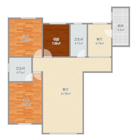 泛泰依山郡3室2厅2卫1厨107.00㎡户型图