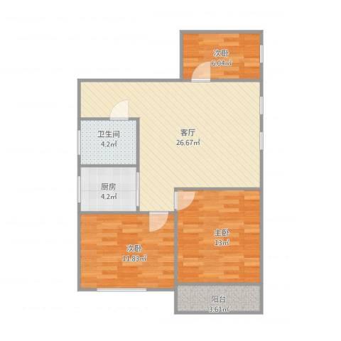 石亭小区3室1厅1卫1厨94.00㎡户型图